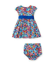 RALPH LAUREN CHILDRENSWEAR Floral Fit-and-Flare Dress Bloomers Set Sz 12M~NWT~