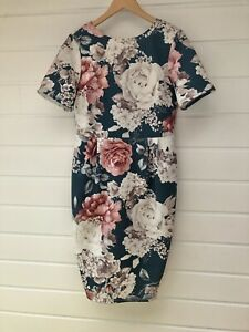 ASOS Plus Size Jade Floral Scuba Short Sleeve Knee Length Party Dress - Size 18