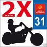 2 stickers autocollants style plaque immatriculation moto Département  31