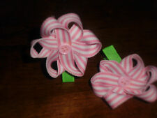 "Hair Bows a pair of 2"" Pink and white strip Flower with a button cnter Hair Bows"