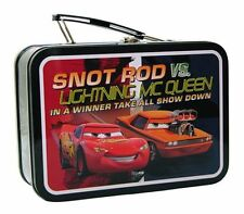 Disney CARS Lightning Mcqueen vs Snot Rod TIN LUNCH BOX GIFT CASE CARRY ALL BAG