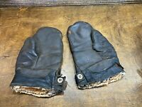 Vintage WWII USAAF Shearling Leather A-9 Bomber Crewman Pilot Flight Gloves WW2