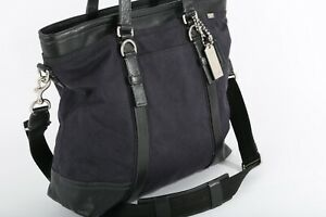 COACH Navy Canvas Contrasted Leather Tote Crossbody Shoulder Bag