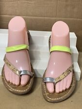 Sam & Libby Slip On Sandals Size 8.5 Neon Yellow Silver Tan