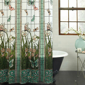 PEVA Vinyl Stained Glass Meadow Shower Curtain Butterfly Flower Aqua NEW