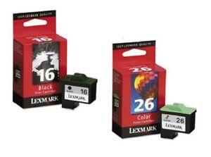 Original LEXMARK Tinte Z13 Z23 Z25 Z33 Z35 Z601 Z602 Z603 Z605 / 16 + 26 OVP SET