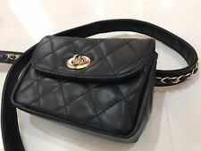 Flap handbag Chain Quilted Belt Bag In Black New