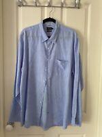Sportcraft Fine Blue Check Linen Long sleeve Men's Shirt Size XXL Tapered Fit