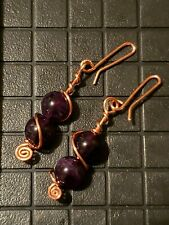 Amethyst and Copper Earrings EMFs Protection