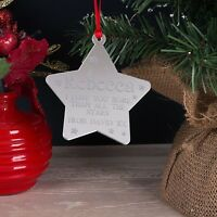 Personalised Christmas Tree Decoration I Love You More Mirror Star Bauble Gift