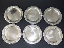 6 massive Hanauer 800er Silber Untersetzer rundes Tablett Schale Hanau silver