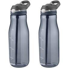 Contigo AUTOSPOUT Ashland 40oz Plastic Water Bottle w/Straw Smoke Grey (2-Pack)