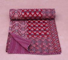 Patchwork Ajrak Kantha Quilts Kantha Blanket Bedding Throw Queen/Twin Bedspread