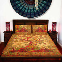 Tree of Life Cotton Queen Size Bedspread Ethnic Indian Bed Sheet With Pillows
