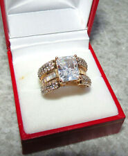 New 14K Yellow Gold Bella emerald-cut Luce Cubic Zirconia CZ Ring SZ 6