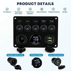 Panneau Tableau Electrique Bateau Voiture SUV Etanche Double USB DC 12V/ 24V LED