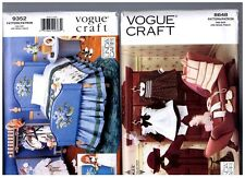 """VOGUE 9352 Furniture & 8648 Hat Coat Clothes PATTERNS Doll 18"""" American Girl"""