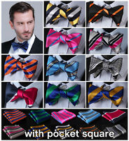 Stripe Men Woven Silk Wedding Self Bow Tie handkerchief Set #B6