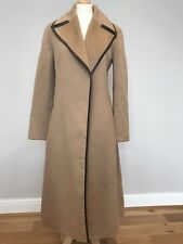 CELINE Michael Kors Era Baby Camel Hair Coat Leather Trim Size 10