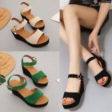 Women Ladies Open Toe Flatform Wedges Sandal Platforms Ankle Strap Shoes UK Size