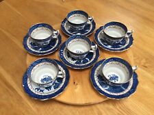Booths Real Old Willow,A8025 Beautiful Set Of 6 Tea Cups & Saucers gold trim