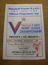 07/12/1980 programma Rugby League: Wakefield Trinity V St. Helens modifiche DEL TEAM ().