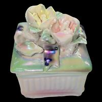"""Vintage Iridescent Flower Color Shifting Trinket Box 3"""" Tall 3.5 W"""