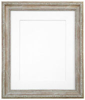 Shabby Chic Distressed Wood Photo Picture Frames with Mount 7 Colour Choices