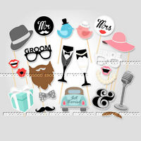 22pcs Photo Booth Prop Moustache Wedding/Hen Do Stag Night/Selfie Party/Game