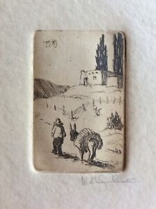 """WILL SHUSTER Vntg. New Mexico Pueblo Burro Etching Image 2"""" x 3"""" Signed / Dated"""