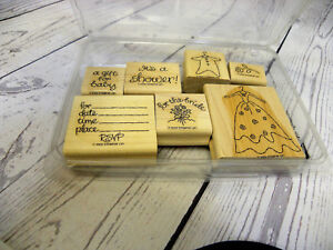 Stampin Up New Beginnings Set of 7 Wooden Rubber Stamps 2002 Bride Baby Shower