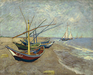 Vincent van Gogh - Vissersboten op het  Painitng Canvas Print wall home Decor