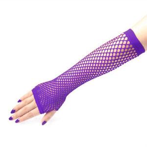New Long Fishnet Gloves Lace Fingerless Punk Emo Hen Party Fancy Dress Tutu Rave