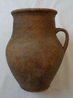 Antique Ceramic Jug Vtg Farmer's Pottery Brown Crock Pitcher Ewer Mug Pot Handle