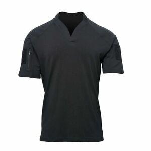 Kryptek Garrison Short Sleeve Rugby Collar Shirt, Color: Black, Large 19GARSSBK5