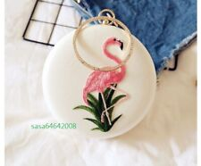 Pink White Color New Flamingo Women's Ladies Elegant PU Evening Clutch Bag