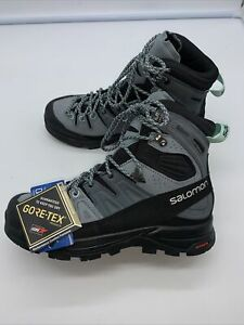 SALOMON X Alp Mid Leather Gortex Trekker BOOTS Hiking Gray Aruba Blue 7 $240