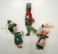 Vintage Kurt Adler Wooden Ornaments (3) Couple Skating & Mrs. Claus 5""