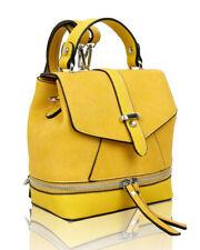 Womens Zip Details Small Size Backpack Girls Cute BEAUTYFUL Design Shoulder Bag Yellow