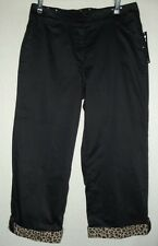 Womens ONQUE CASUALS 8 BLACK Leopard Cuffed BLACK CROP PANTS capris cropped