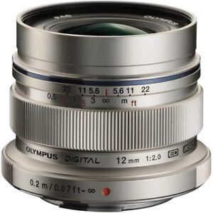 New OLYMPUS M.Zuiko Digital ED 12mm f/2.0 Lens - SILVER - Micro Four Thirds Moun