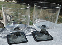 Set of 2 Pousse Cafe SMOKE & CLEAR Square Pedestal Drinking Glasses Tumblers