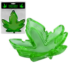 """Pot Leaf Glass Green Weed Ashtray 5"""" Wide"""
