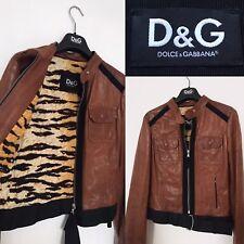 Dolce & Gabbana Leather Jacket Brown Tan Biker Coat S UK 8 | D&G