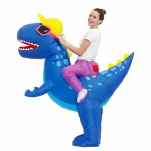 Inflatable Dinosaur Costumes Halloween Anime Blue Printed Fancy Party Cosplay