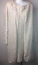 St John Sz 8 Dress Jacket Knit Suit Silver White Beige Metallic Evening Adara