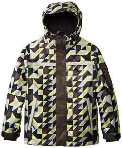 NWT YOUTH GRENADE G GLOVES SNOWBOAR SQUARED JACKET $150 lime multi-color pattern