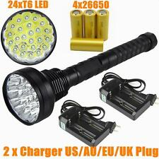 32000 Lumen 24x CREE XM-L T6 LED 5 Modes Flashlight Torch Camping Light 4x 26650