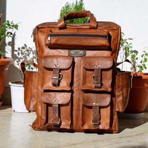 Extra Large Men's Leather Luagge Travel Weekend Rucksack Backpack Bag (7 Pocket)