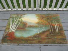 "Large Vintage Oil Painting Reynolds 1967 Autumn Lake & Toe Path 72"" by 43"""